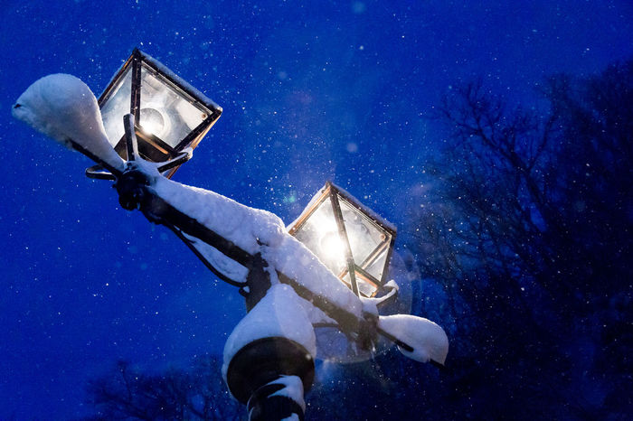 Lamp Post Snow ❄ Astronomy Blue Galaxy Illuminated Lantern Low Angle View Nature Night No People Outdoors Sky Snow Star - Space