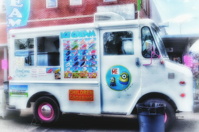 Bright Colors Outdoors Main Street Sidewalk Festival Vendors Carnival Food Ice Cream Ice Cream Truck