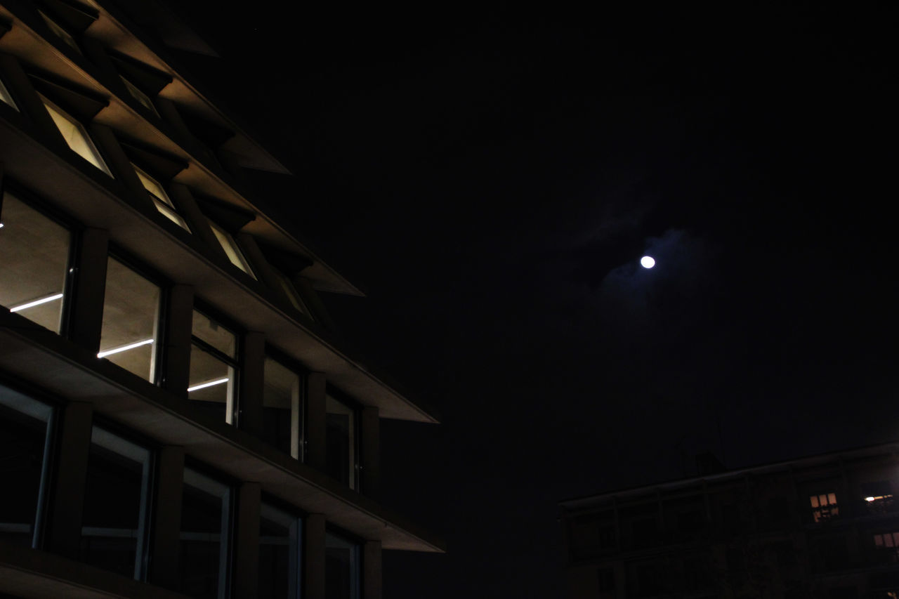 night, low angle view, moon, illuminated, no people, architecture, built structure, building exterior, sky, outdoors, nature