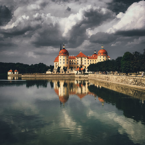 Castle Schloss Skyline Architecture Belief Building Building Exterior Built Structure Cloud - Sky Clouds And Sky Day History Lake Nature No People Outdoors Place Of Worship Reflection Religion Schlossmoritzburg Sky The Past Travel Destinations Water Waterfront