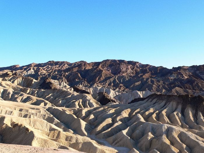Scenic view of death valley national park against clear blue sky