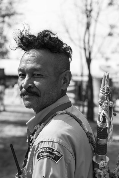 Thai volunteer guard at Lop Buri Ancient Black & White Cool Homeland Love Man Outdoors Portrait Streetphotography Style Taking Photos The Portraitist - 2016 EyeEm Awards Uniform Volunteering