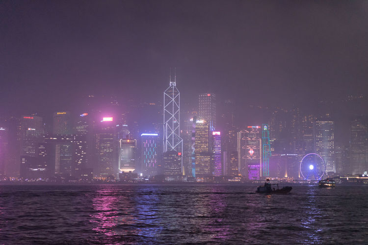 Misty Victoria Harbour - Hong Kong Hong Kong HongKong Mong Kok Victoria Harbour Architecture Building Building Exterior China City Cityscape Financial District  Illuminated Kowloon Night Reflection Skyscraper Travel Destinations Tsim Sha Tsui Urban Skyline Water Waterfront