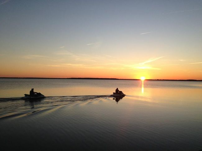 Sunset Bay OceanCity Maryland Jetski Calm Bay View Water Waterfront Shillouette Jetskiing Jet Ski Water Sports Nature Sport Scenery Scenics EyeEm Selects Connected By Travel