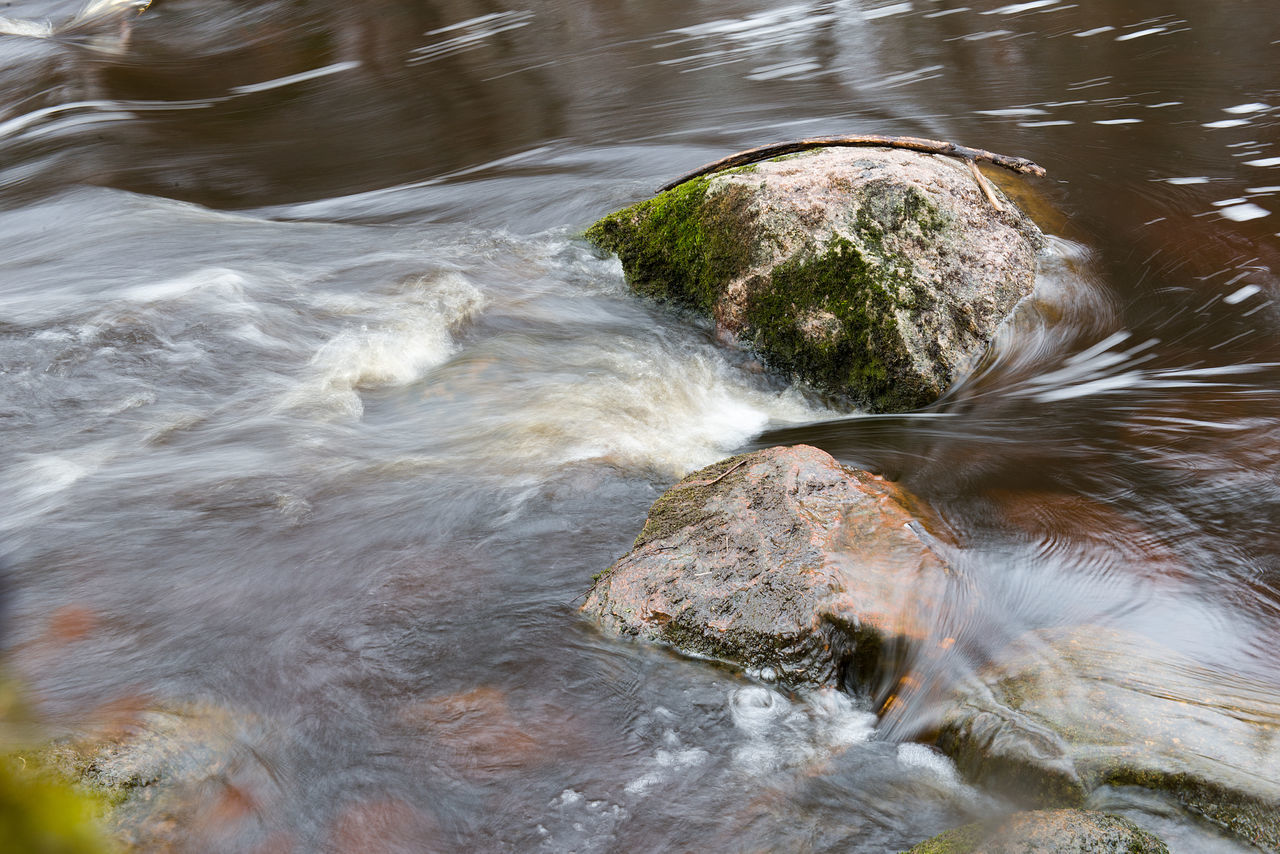water, no people, nature, rock - object, high angle view, day, motion, outdoors, river, beauty in nature, close-up