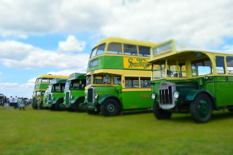 Retro Buses Green People Watching Sky And Clouds Summertime Sunny Day Focused Focus