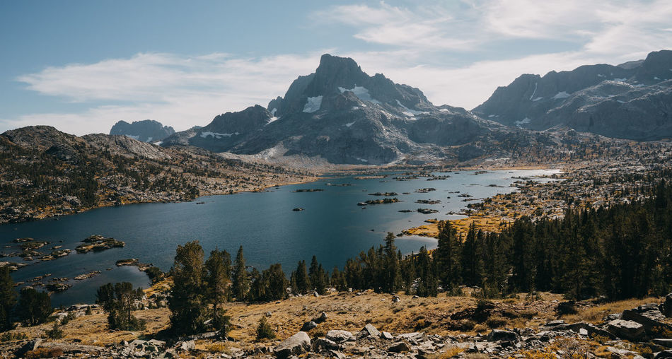 John Muir Trail Sierra Nevada Mountains Lake Thousand Island Lake Pacific Crest Trail California Hiking Thru Hiking Mountain Water Beauty In Nature Scenics - Nature Tranquil Scene Cloud - Sky Tranquility Mountain Range Nature Non-urban Scene No People Environment Sky Day Plant Idyllic Tree Landscape Mountain Peak Outdoors