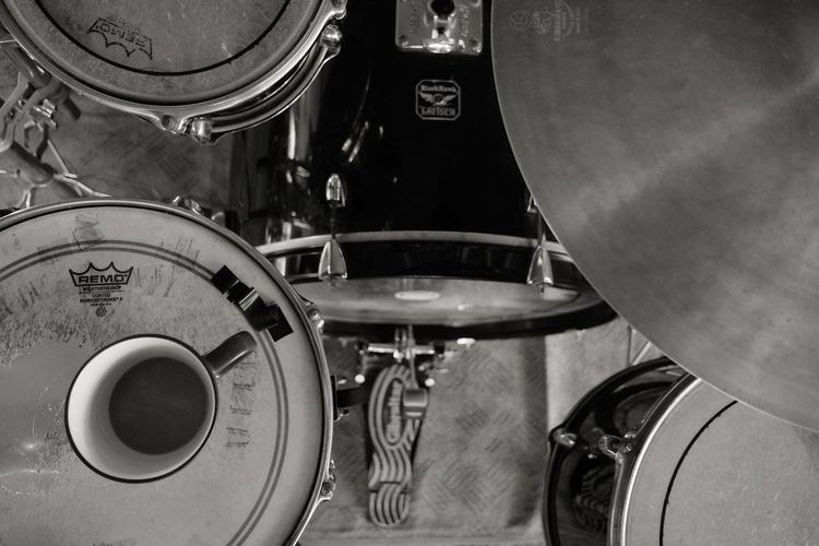 Blackandwhite Black And White High Angle View Arts Culture And Entertainment Indoors  Close-up No People Day Coffee Coffee Time Drumstagram Drumset