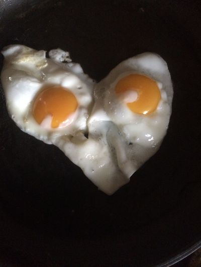 Food Fried Eggs Heart Shaped Close-up Ready-to-eat Visual Feast