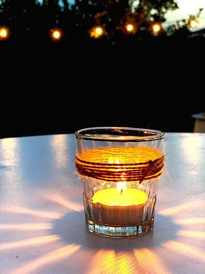 Illuminated Table Food And Drink No People Refreshment Reflection Glass Glass - Material Nature Night Candle Lighting Equipment
