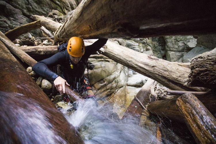 Water flowing through rocks in river