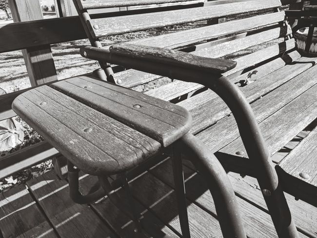 EyeEm Selects Chair Relaxation Shadow High Angle View Seat Absence Deck Chair Wooden Empty Rocking Chair Bench Swing Park Bench
