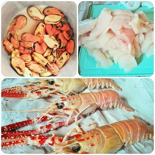 Hoje é dia de frutos do mar.... Mexilhão Lagostinha e IscasDePeixe