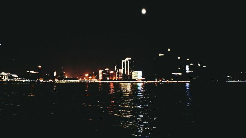 Night Urban Skyline Cityscape Nature Water City