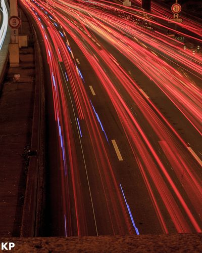 Traffic Light Red Road Long Exposure