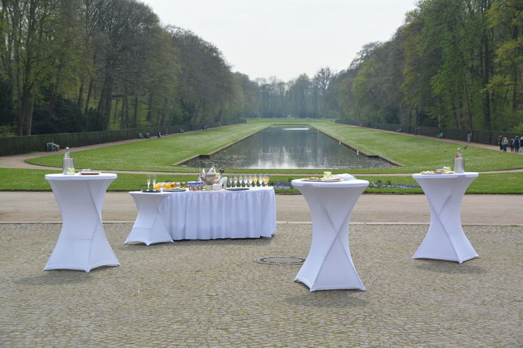 Tables with food outdoors