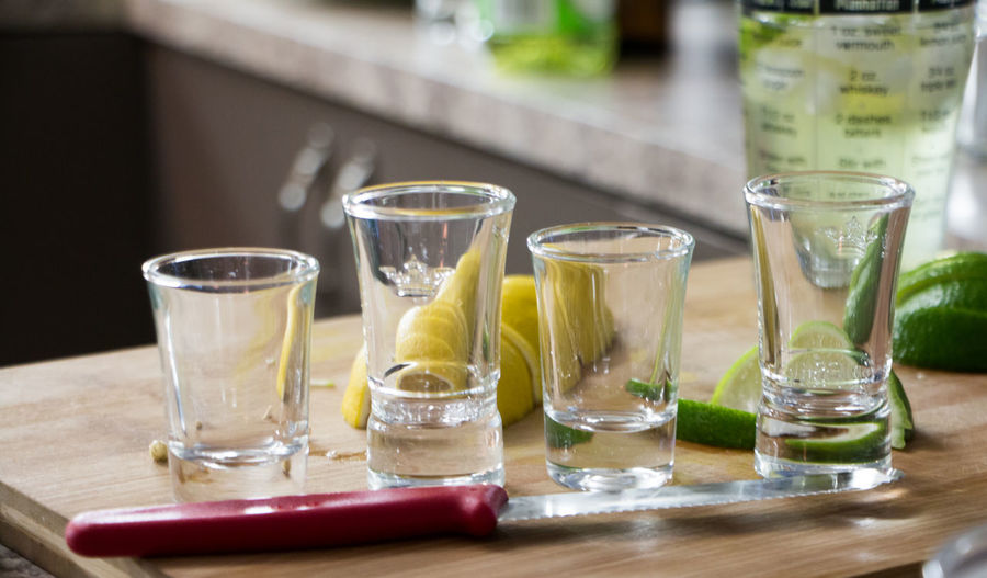 Shot glasses on table