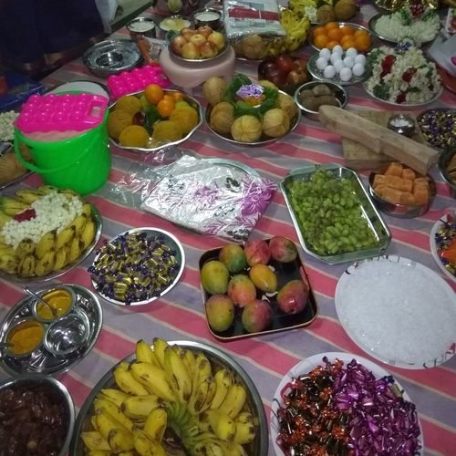 seer varsai, dowry tradition on Indian culture Dowry Feminism Indian Dowry Tamilnadu Dowry Chettinadu Choice Multi Colored Variation High Angle View Food And Drink Display
