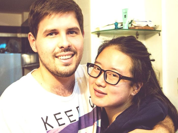 Portrait Of A Friend Couple Embrace International South African Chinese Girl Portrait Photography Apartment Travel In China Awesome Roommate