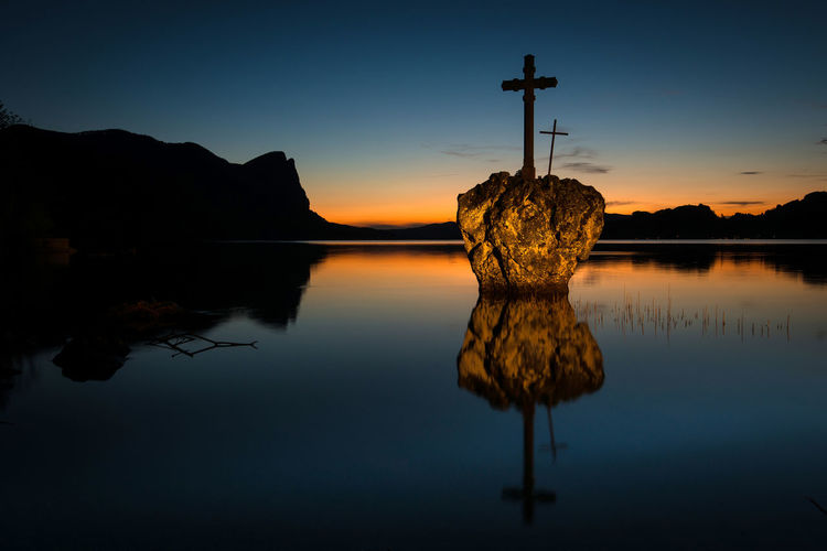 sunset @ kreuzstein Austria Beauty In Nature Christian Symbol Cross Day Lake Landscape Mondsee Mountain Nature No People Outdoors Reflection Scenics Silhouette Sky Sunset Symmetry Tranquil Scene Tranquility Water