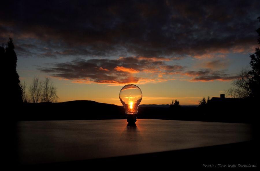 Creativephoto Photoart Sun Lightbulb Sky Cloud - Sky Sunset Water Silhouette Nature Scenics - Nature