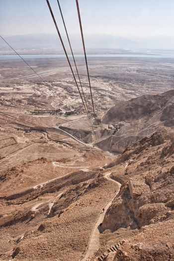 Dead Sea  Desert Cable Car Massada Sea Land Sky Water Nature Tranquility Beauty In Nature No People Sand Horizon Sunlight Horizon Over Water Non-urban Scene EyeEmNewHere