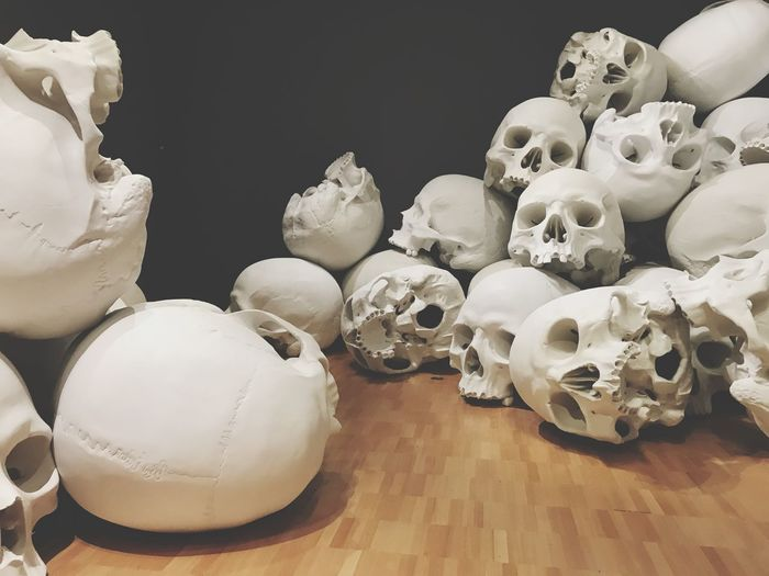 Melbourne Art Installation Morbid Bones Skull Skulls Skulls 💀 Indoors  No People Table High Angle View Close-up Day