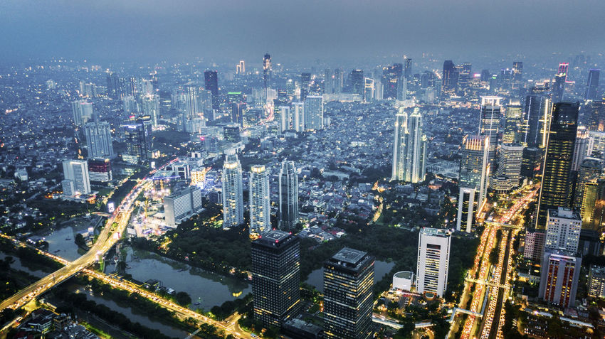 Jakarta Aerial View Architecture Building Building Exterior Built Structure City City Life Cityscape Downtown District Financial District  High Angle View Landscape Modern No People Office Building Exterior Outdoors Residential District Skyscraper Tower Transportation Travel Destinations Urban Skyline