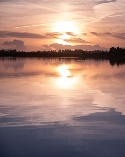 Sunset painterly lake