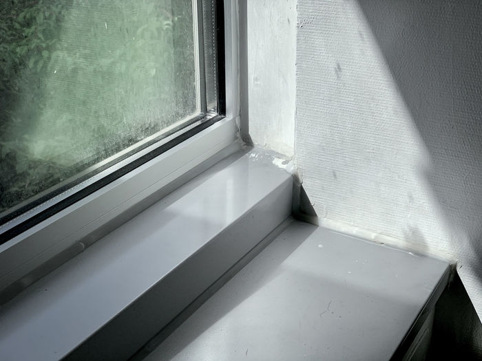 High angle view of window sill at home