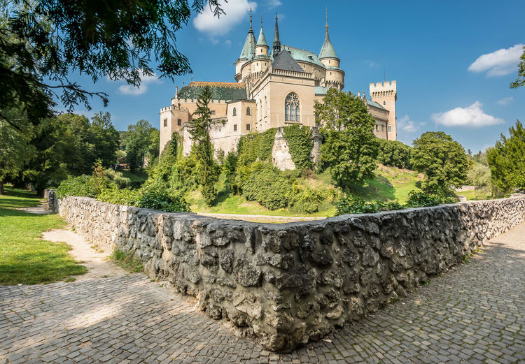 Bojnice medieval castle, UNESCO heritage, Slovakia. It is a Romantic castle with some original Gothic and Renaissance elements built in the 12th century Architecture Bojnice Bojnice Slovakia Castle Historical Building UNESCO World Heritage Site Heritage Medieval Unesco