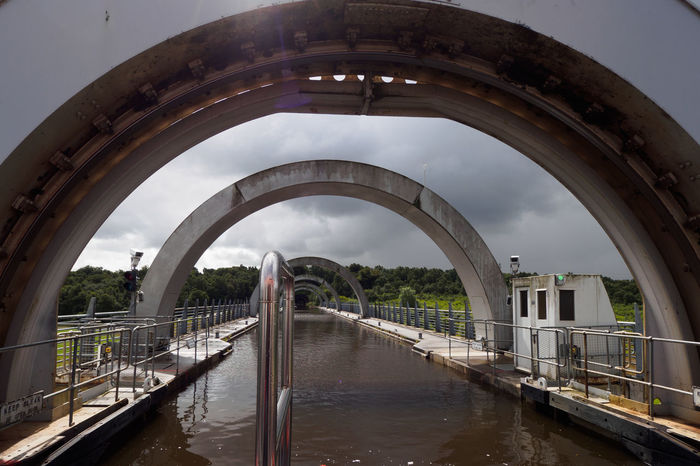 The Falkirk Wheel in Scotland Archimedes' Screw Clyde Canal Falkirk Wheel Forth Canal Innovation Invention Scotland Archimedes Boatlift Canal Canals And Waterways Connection Day Energy Energy Efficient Engineering No People Rotation Sky Uniqueness