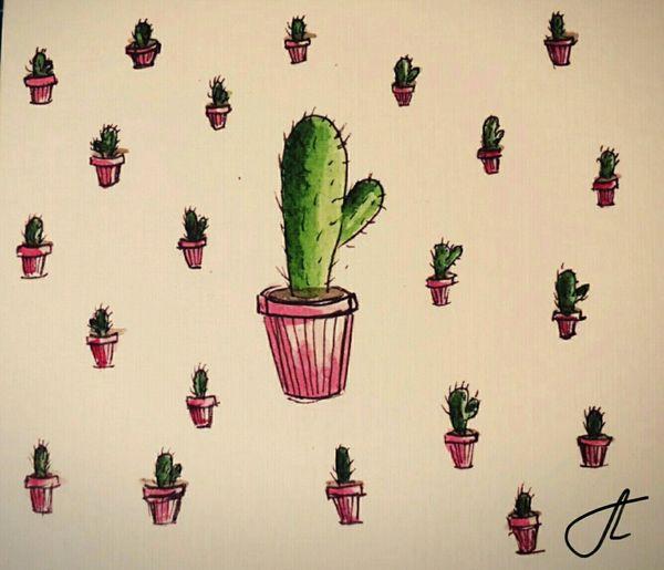 Illustration Art Ideas No People Creativity Sketch Pink Color Green Color кактусы🌵 акварельныйрисунок Wathercolor