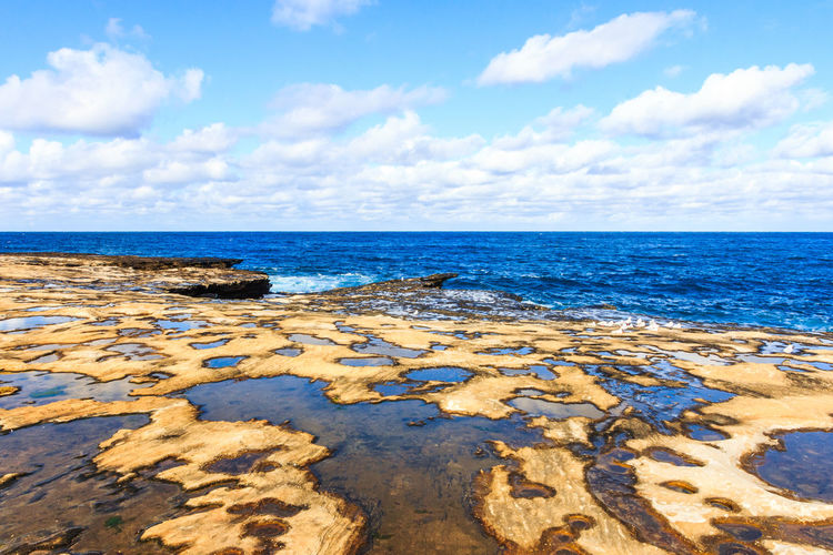Person walking along deserted beach on a beautiful sunny day, Freshwater,Sydney,New South Wales, NSW, Australia Clovelly  Looking Out To Sea Shark Point Australia Beautiful Blue Sky Clouds Coast Coastal New South Wales  Ocean Rock Pools Rocks Sunny Nature