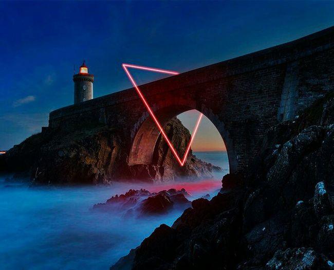 Night Sea Neon Water Red Photoshop