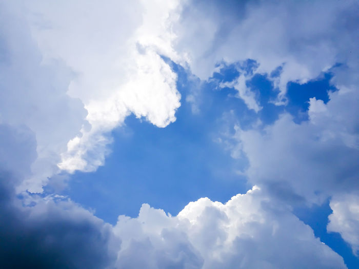 Backgrounds Beauty In Nature Blue Cloud - Sky Cloudscape Day Full Frame Idyllic Low Angle View Meteorology Nature No People Outdoors Scenics - Nature Sky Softness Sunlight Tranquil Scene Tranquility White Color