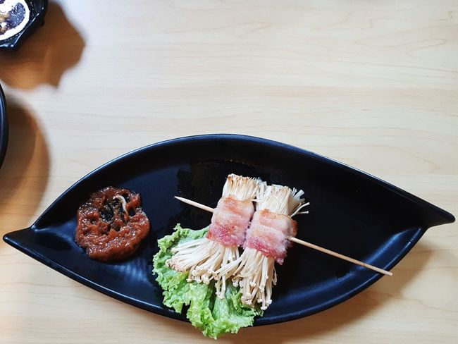Japanese Food Food And Drink Indoors  Plate Seafood High Angle View Food No People Freshness Chopsticks Healthy Eating Close-up Sashimi  Ready-to-eat Day Mushroom Bacon Asian Meal Food Design