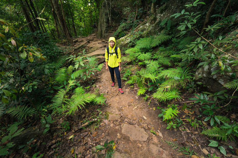 Portrait Of Female Hiker Standing On Footpath Amidst Trees At Forest