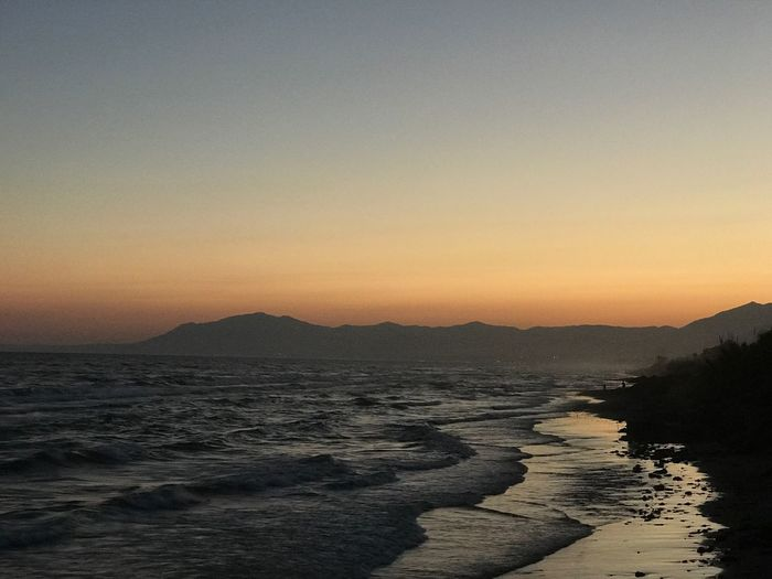 Sommergefühle Sunset Beauty In Nature Nature Tranquil Scene Scenics Water Sea Copy Space Mountain Tranquility Beach No People Outdoors Silhouette Clear Sky Sand Sky Landscape Wave Day Nofilter#noedit Marbella