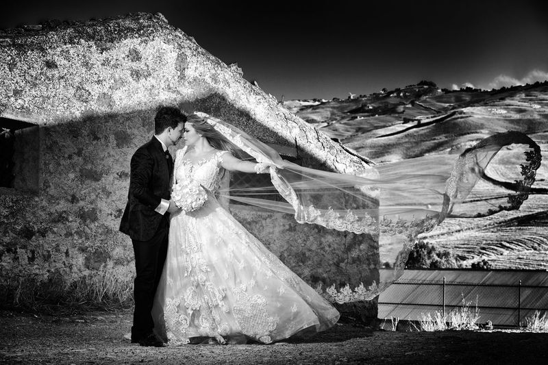Adult Bride Celebration Couple - Relationship Day Event Full Length Life Events Men Mountain Nature Newlywed Outdoors People Real People Standing Wedding Wedding Dress Well-dressed Young Adult