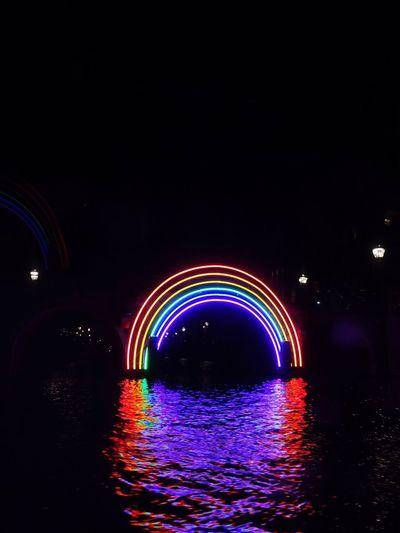 Light Rainbow Amsterdam City Gay Night Illuminated Motion Water Multi Colored Long Exposure Architecture Architecture Arch Glowing City Dark City Dark