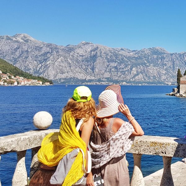 Water Togetherness Leisure Activity Day Two People Women Outdoors Sea Nature Vacations People Lifestyles Summer Relaxation Our Lady Of The Rocks PERAST Montenegro Clear Sky Blue Seaview Seascape Fashion Holiday Vacations Sommergefühle Your Ticket To Europe