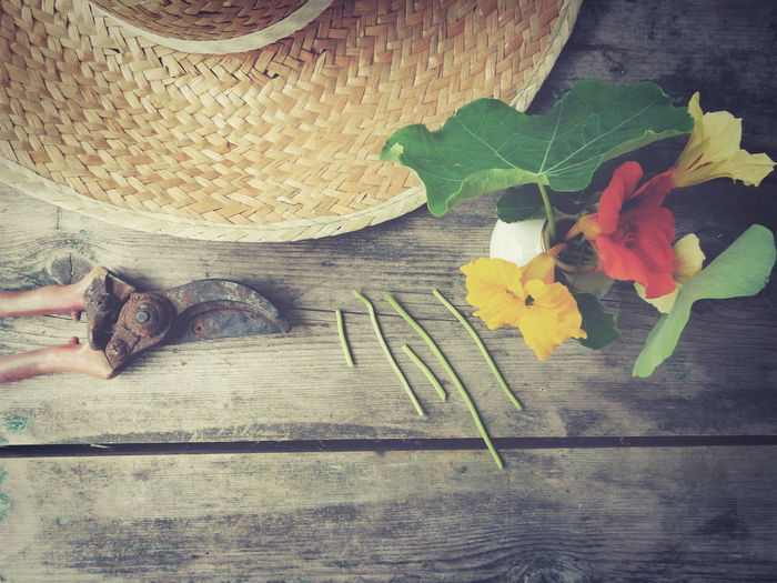 Directly above shot of wicker hat and pruning shears next to flower vase on table