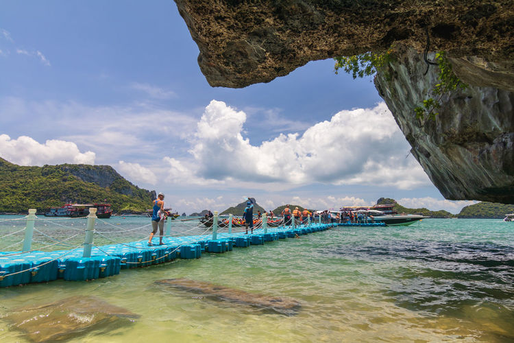 Angthong National Marine Park Thailand Beach Beauty In Nature Cloud - Sky Day Holiday Incidental People Land Leisure Activity Mode Of Transportation Nature Nautical Vessel Outdoors Samui Samui_thailand Scenics - Nature Sea Sky Tranquility Transportation Turquoise Colored Vacations Walkway Water