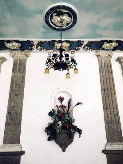 Backyard in Mexico City Ceiling Mexico City Architecture Built Structure Chandelier Colonial Architecture Day Design Flowers Lamp Low Angle View No People Place Of Worship Spirituality