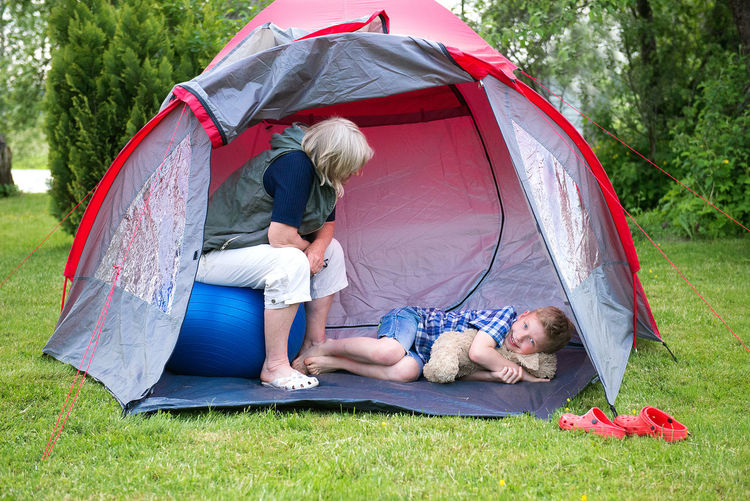 Two people in tent