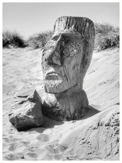 Statue in the sand Sand Beach Day No People Nature Outdoors Sky Art Photography EyeEm Selects EyeEm Best Shots Eyeemphotography Enhanced Photograph EyeEm Gallery Beauty In Nature Backgrounds Full Frame Statue Beach Photography Seaside_collection EyeEm Best Shots - Black + White Black And White Photography Scenics EyeEm Bnw Photography Autumn The Week On EyeEm