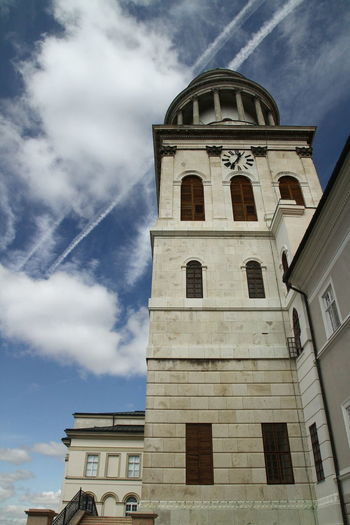Abbey Hungary Pannonhalma Architecture Blue Sky Clock Tower Cloud - Sky Jet Stream Religion Sky Spirituality