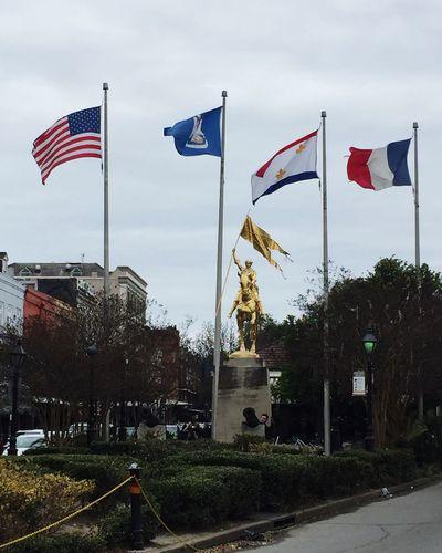 French Quarter Joan Of Arc New Orleans, LA Flag Patriotism Statue Sculpture Human Representation Pride Sky