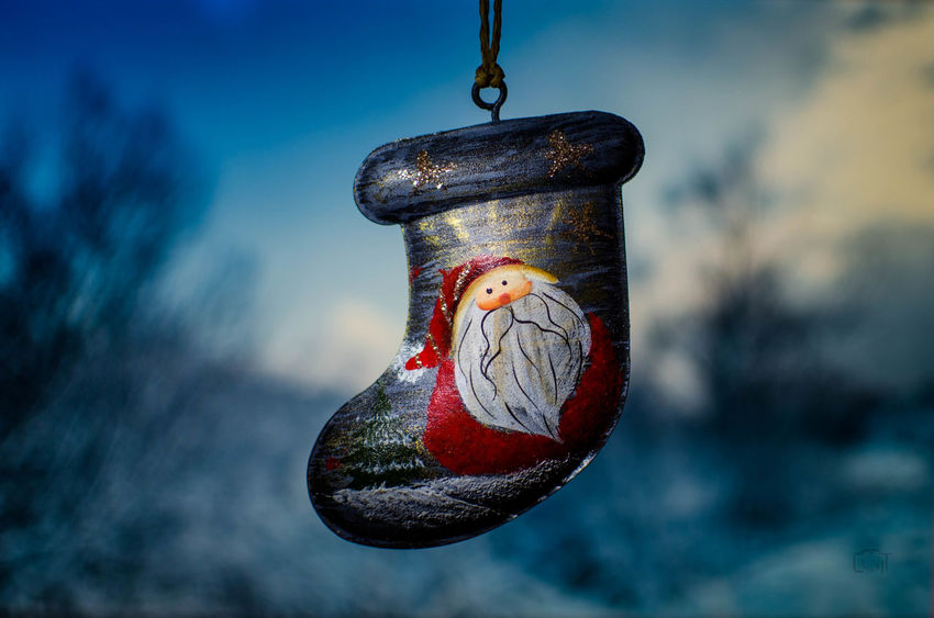 Christmas decoration Hanging Focus On Foreground Close-up Nature Day No People Fishing Hook Outdoors Metal Water Red Blue Animal Themes Rope Sky Fishing One Animal Christmas Christmas Decoration